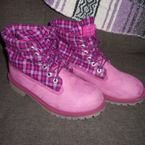 Timberland Pink Plaid Boots 7